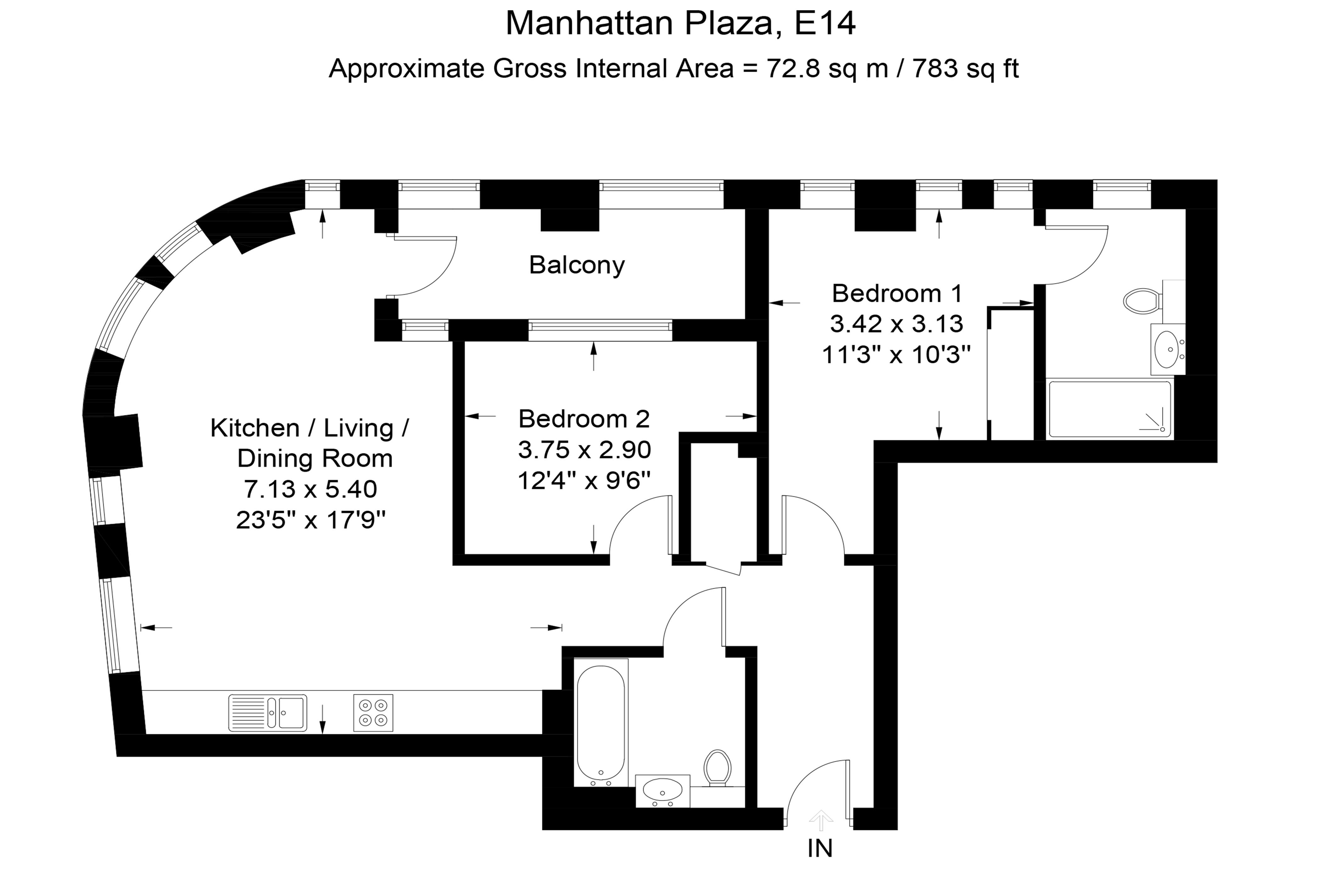 Manhattan Plaza Two Bedroom Apartment Floor Plan