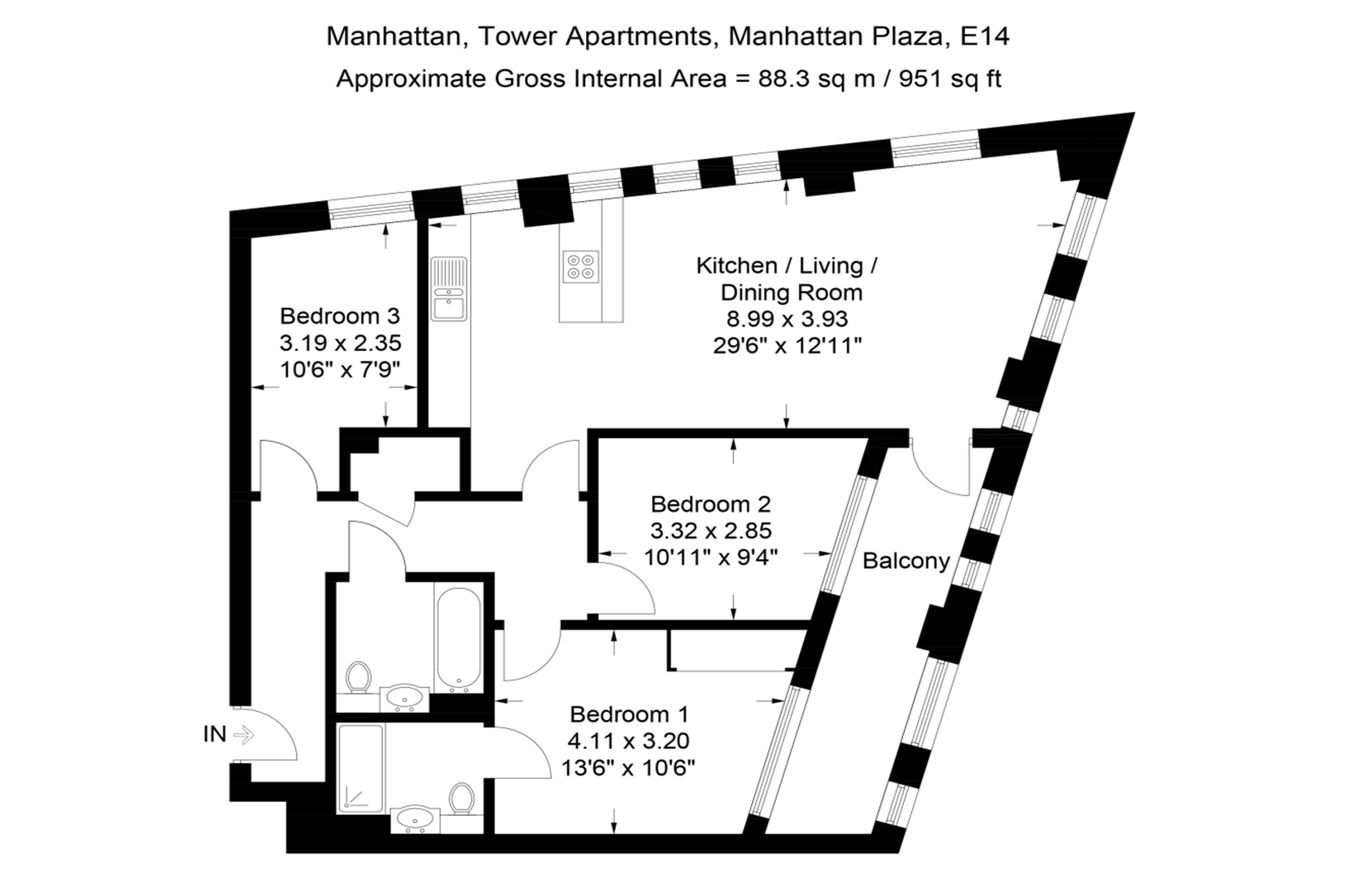 Manhattan Plaza Three Bedroom Artment Floor Plan